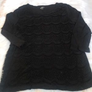 Loft Lace Front 3/4 Sleeve Tee L
